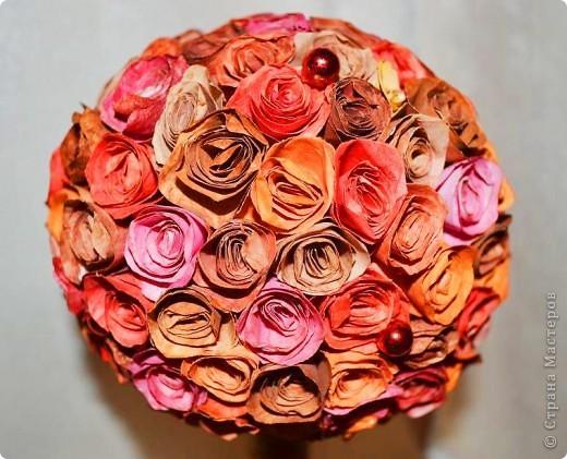 Бонсай, топиарий, Мастер-класс, Поделка, изделие Вырезание, Торцевание: Миллион бумажных роз.... Бумага, Гуашь. Фото 20