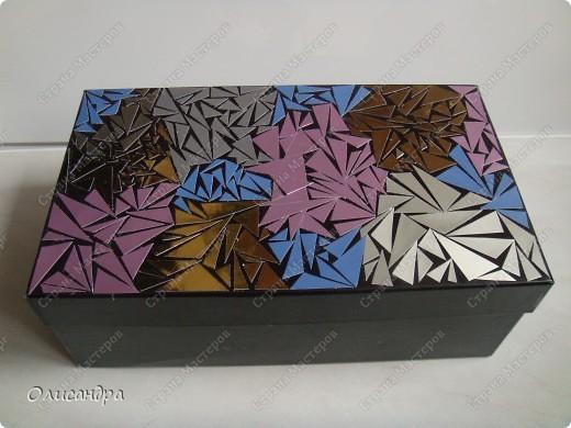 """Еще один """"пробный шар"""".... Учусь делать мозайку... """"Подопытным кроликом"""" стала обувная коробка.... Фото 1"""
