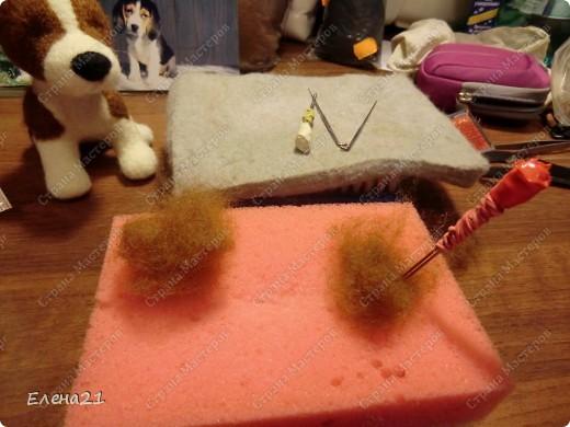 Мастер-класс Валяние (фильцевание): мастер-класс по щеночку бигли. Часть 2. Шерсть Дебют. Фото 11
