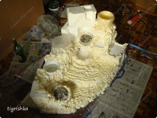 Интерьер, Поделка, изделие Лепка: Небольшой МК как я делала уютный уголок для комнатных растений Гуашь, Материал природный, Пенопласт Дебют. Фото 4