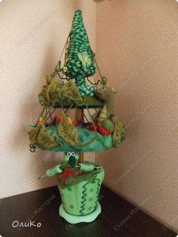 Бонсай, топиарий, Интерьер, Фэн-шуй Валяние (фильцевание): Дерево для сектора семьи Пряжа, Шерсть День семьи. Фото 1