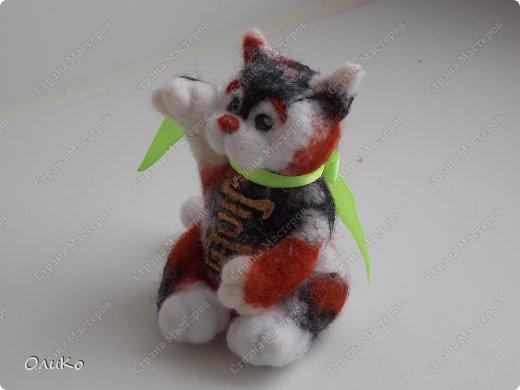Фэн-шуй Валяние (фильцевание): Манэки - нэко - денежный кот Шерсть Новый год. Фото 2