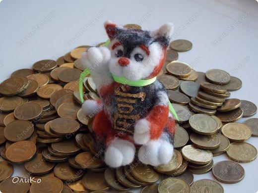 Фэн-шуй Валяние (фильцевание): Манэки - нэко - денежный кот Шерсть Новый год. Фото 6