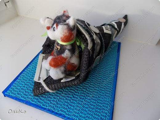 Фэн-шуй Валяние (фильцевание): Манэки - нэко - денежный кот Шерсть Новый год. Фото 4
