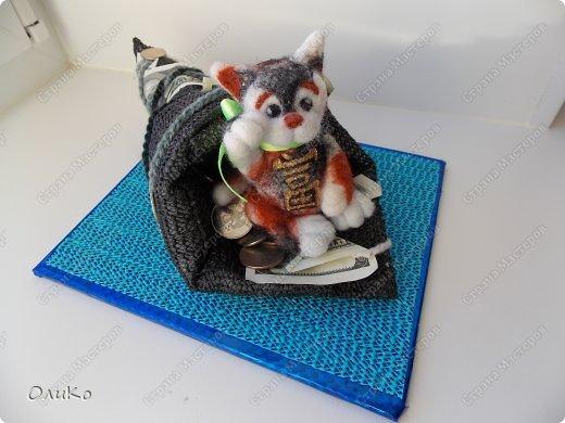 Фэн-шуй Валяние (фильцевание): Манэки - нэко - денежный кот Шерсть Новый год. Фото 3