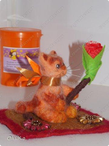 Игрушка, Интерьер, Фэн-шуй Валяние (фильцевание): Новые коты Шерсть Валентинов день. Фото 3