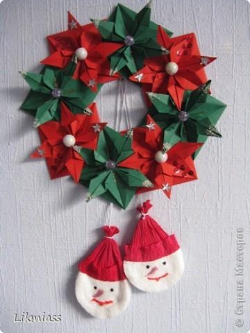 Мастер-класс, Поделка, изделие Оригами: ВЕНОК НА РОЖДЕСТВО +МК Бумага, Бусинки, Диски ватные Новый год, Рождество. Фото 2