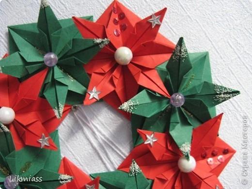 Мастер-класс, Поделка, изделие Оригами: ВЕНОК НА РОЖДЕСТВО +МК Бумага, Бусинки, Диски ватные Новый год, Рождество. Фото 3