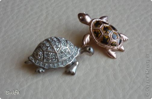 Продолжаю показывать своих черепашек. Начало можно посмотреть здесь http://stranamasterov.ru/node/151515. Фигурки куплены нами или подарены друзьями и родными, поэтому попадаются вроде бы одинаковые, но разного оформления. Рассказы о черепахах, как о живых или мифических существах или о символах предлагаю почитать у Олиандры.   Решила начать с микрораздела.  Это броши. . Фото 3