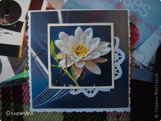 """Девочки! Как называется этот цветок? ******************************************* Окрыленная положительными отзывами, решила повторить свой эксперимент... и сделать еще одну открытку-стойку... Т.е. хотела ,просто, повторить то,что уже делала,но с другой картинкой... http://stranamasterov.ru/node/215641  Т.е. думать не хотелось, хотелось сделать быстренько... Но, кажется, быстренько я не умею...  Опять """"муки творчества"""" длились до середины ночи.... Фото 5"""