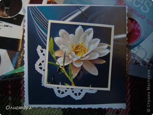 """Девочки! Как называется этот цветок? ******************************************* Окрыленная положительными отзывами, решила повторить свой эксперимент... и сделать еще одну открытку-стойку... Т.е. хотела ,просто, повторить то,что уже делала,но с другой картинкой... http://stranamasterov.ru/node/215641  Т.е. думать не хотелось, хотелось сделать быстренько... Но, кажется, быстренько я не умею...  Опять """"муки творчества"""" длились до середины ночи.... Фото 6"""
