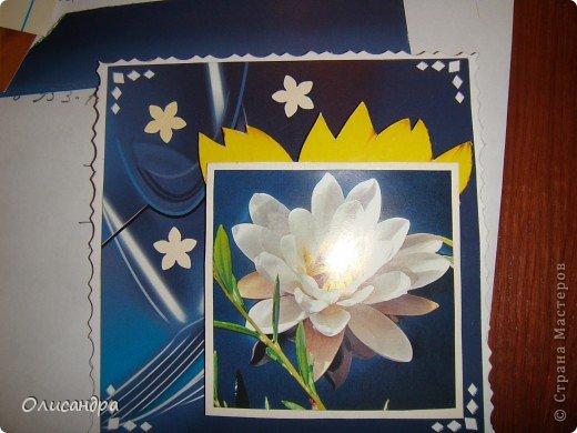"""Девочки! Как называется этот цветок? ******************************************* Окрыленная положительными отзывами, решила повторить свой эксперимент... и сделать еще одну открытку-стойку... Т.е. хотела ,просто, повторить то,что уже делала,но с другой картинкой... http://stranamasterov.ru/node/215641  Т.е. думать не хотелось, хотелось сделать быстренько... Но, кажется, быстренько я не умею...  Опять """"муки творчества"""" длились до середины ночи.... Фото 10"""