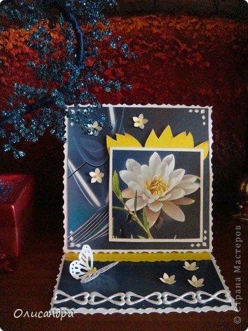 """Девочки! Как называется этот цветок? ******************************************* Окрыленная положительными отзывами, решила повторить свой эксперимент... и сделать еще одну открытку-стойку... Т.е. хотела ,просто, повторить то,что уже делала,но с другой картинкой... http://stranamasterov.ru/node/215641  Т.е. думать не хотелось, хотелось сделать быстренько... Но, кажется, быстренько я не умею...  Опять """"муки творчества"""" длились до середины ночи.... Фото 1"""
