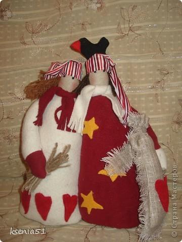 Декор предметов, Куклы Шитьё: Рождественские неразлучники (Тильда) и шкатулка№3 Ткань Рождество. Фото 1