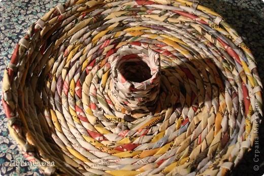 Мастер-класс Поделка изделие Плетение Фруктовница-конфетница-печенюшница Бумага газетная фото 5