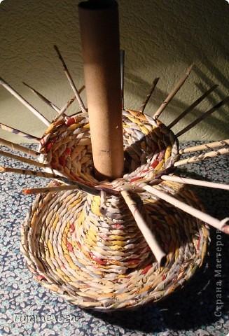 Мастер-класс Поделка изделие Плетение Фруктовница-конфетница-печенюшница Бумага газетная фото 15