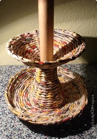 Мастер-класс Поделка изделие Плетение Фруктовница-конфетница-печенюшница Бумага газетная фото 16