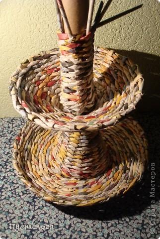 Мастер-класс Поделка изделие Плетение Фруктовница-конфетница-печенюшница Бумага газетная фото 18