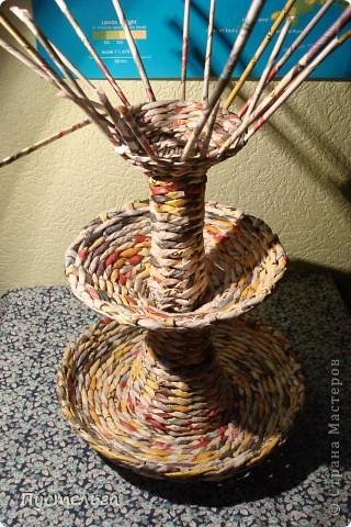 Мастер-класс Поделка изделие Плетение Фруктовница-конфетница-печенюшница Бумага газетная фото 20