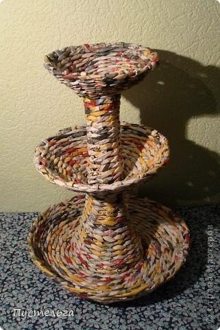 Мастер-класс Поделка изделие Плетение Фруктовница-конфетница-печенюшница Бумага газетная фото 21