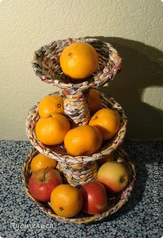 Мастер-класс Поделка изделие Плетение Фруктовница-конфетница-печенюшница Бумага газетная фото 22