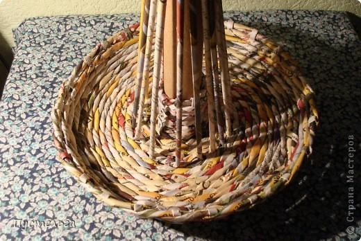 Мастер-класс Поделка изделие Плетение Фруктовница-конфетница-печенюшница Бумага газетная фото 7