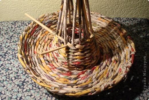 Мастер-класс Поделка изделие Плетение Фруктовница-конфетница-печенюшница Бумага газетная фото 9