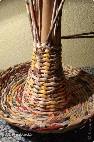 Мастер-класс Поделка изделие Плетение Фруктовница-конфетница-печенюшница Бумага газетная фото 11