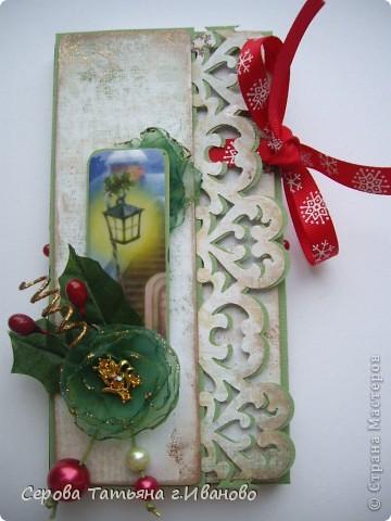 Открытка, Скрапбукинг: Новогодние шоколадницы Бумага, Бусинки, Кружево, Ленты Новый год. Фото 14