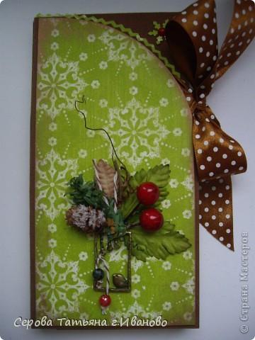Открытка, Скрапбукинг: Новогодние шоколадницы Бумага, Бусинки, Кружево, Ленты Новый год. Фото 1