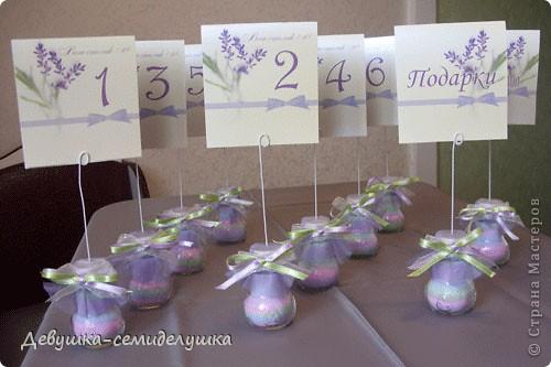 Декор предметов Насыпание: Лавандовая свадьба: посадочные карточки для банкетных столов Проволока Свадьба. Фото 1