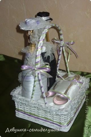 Поделка, изделие: Лавандовая свадьба: аксессуар на стол молодых Ленты Свадьба. Фото 2