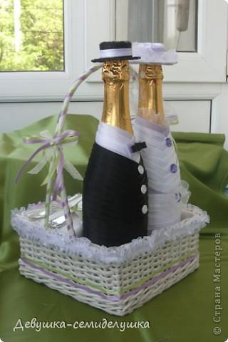 Поделка, изделие: Лавандовая свадьба: аксессуар на стол молодых Ленты Свадьба. Фото 1