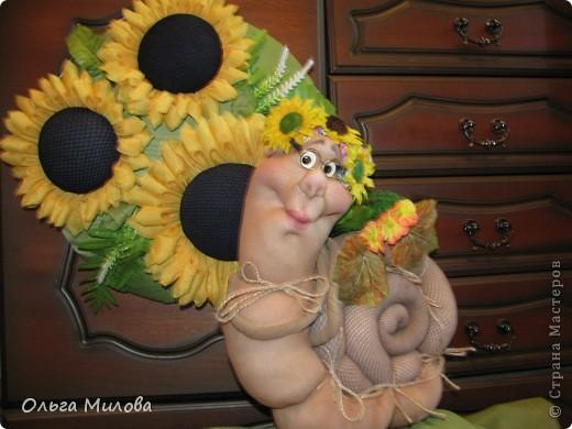Куклы, Мастер-класс Цумами Канзаши, Шитьё: Подсолнухи (мастер-класс) Ткань. Фото 3