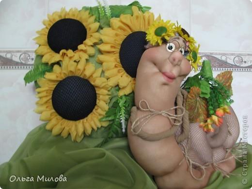 Куклы, Мастер-класс Цумами Канзаши, Шитьё: Подсолнухи (мастер-класс) Ткань. Фото 1