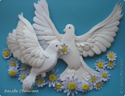 Картина, панно, рисунок Бумагопластика, Квиллинг: Голуби ко дню любви, семьи и верности Бумага. Фото 1