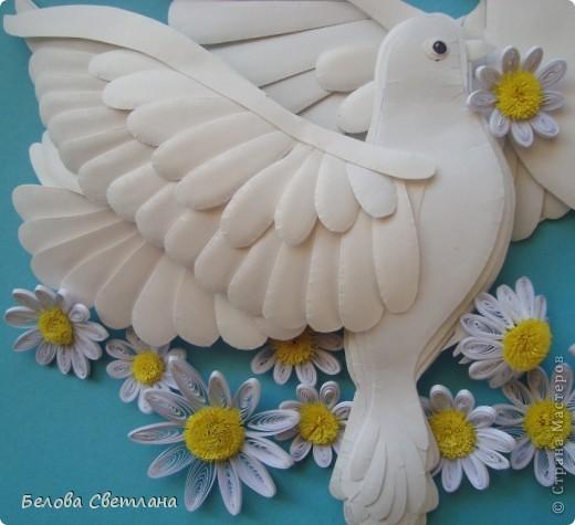 Картина, панно, рисунок Бумагопластика, Квиллинг: Голуби ко дню любви, семьи и верности Бумага. Фото 2