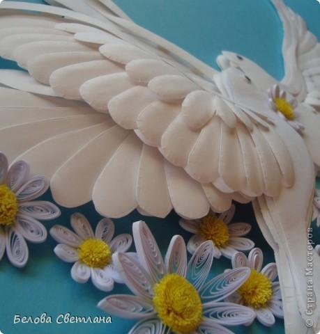 Картина, панно, рисунок Бумагопластика, Квиллинг: Голуби ко дню любви, семьи и верности Бумага. Фото 3