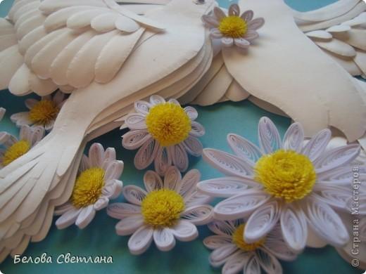 Картина, панно, рисунок Бумагопластика, Квиллинг: Голуби ко дню любви, семьи и верности Бумага. Фото 4