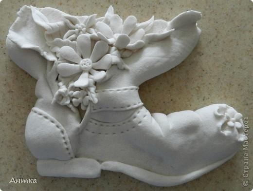 Поделка, изделие Лепка: Чей туфля...ой, нет, ботинок? Гуашь, Салфетки, Тесто соленое. Фото 11