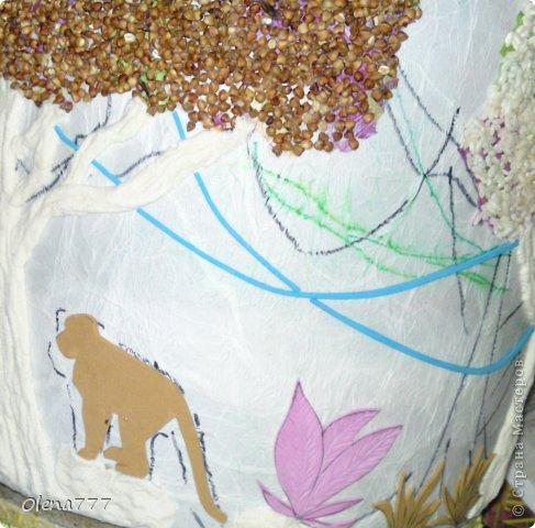 """Декор предметов, Мастер-класс, Поделка, изделие Аппликация, Лепка: Цветочный горшок """"Джунгли"""". Клей, Краска, Продукты пищевые, Салфетки, Тесто соленое. Фото 14"""