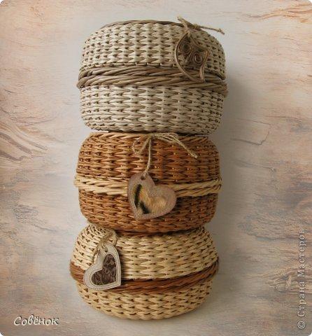 Поделка, изделие Плетение: Шкатулки из бумаги Бумага газетная, Трубочки бумажные. Фото 1