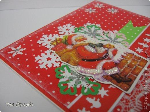Открытка, Скрапбукинг Аппликация, Ассамбляж: Новогодняя открытка Бумага, Бусинки Новый год. Фото 3