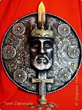 Король Артур. (пейп-арт, папье-маше) Бумага, Картон, Салфетки. Фото 7