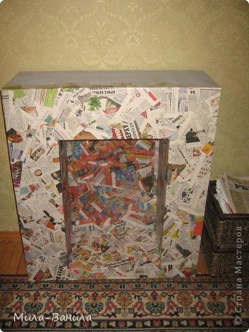 Мастер-класс Папье-маше: Камин к Рождеству Бумага газетная, Дерево, Картон Новый год. Фото 11