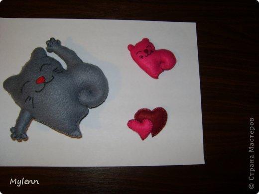 Мастер-класс Шитьё: Saint Valentain`s Cats Фетр Валентинов день. Фото 5