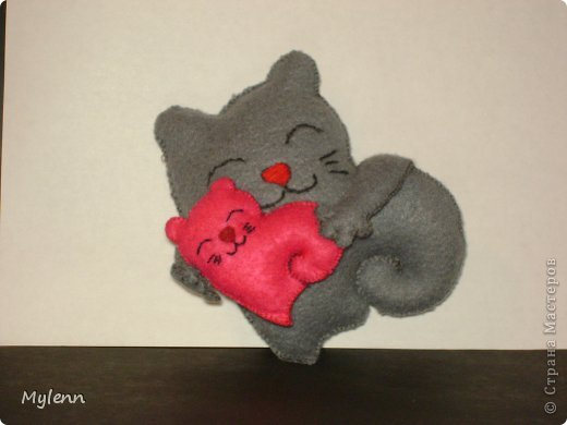 Мастер-класс Шитьё: Saint Valentain`s Cats Фетр Валентинов день. Фото 1