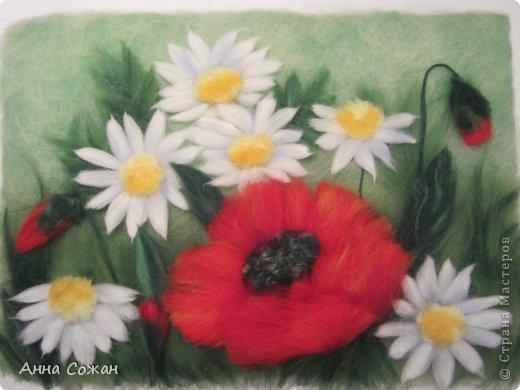 Картина, панно, рисунок Валяние (фильцевание), Рисование и живопись: Букетное настроение Шерсть День рождения. Фото 3