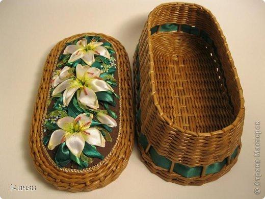 Поделка, изделие Плетение: МК корзинки с крышкой Бумага газетная. Фото 33
