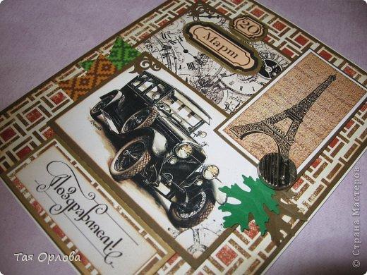 Открытка, Скрапбукинг Аппликация, Ассамбляж: Мужская открытка Бумага, Пуговицы День рождения. Фото 2